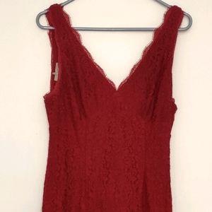 Crimson Lace V-Neck Gown